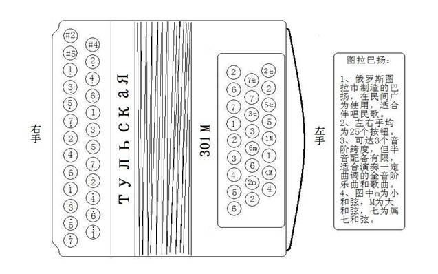 手风琴左手键钮音位及指法详尽资料图片